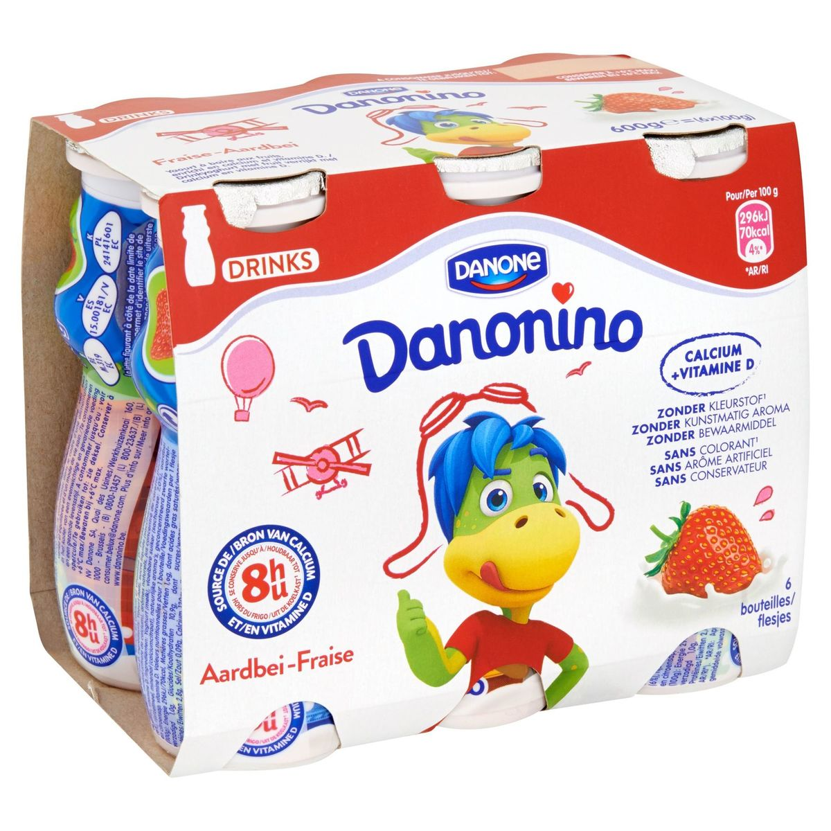 Danonino Drinks Yaourt à Boire Fraise pour les Enfants 6 x 100 g