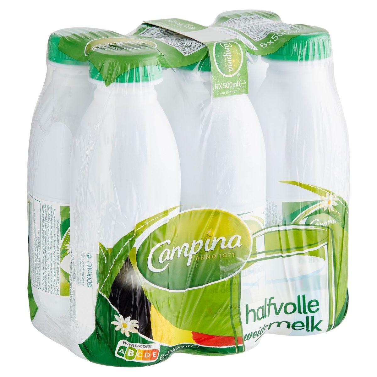 Campina Lait Demi-Écrémé de Pâturage 6 x 500 ml
