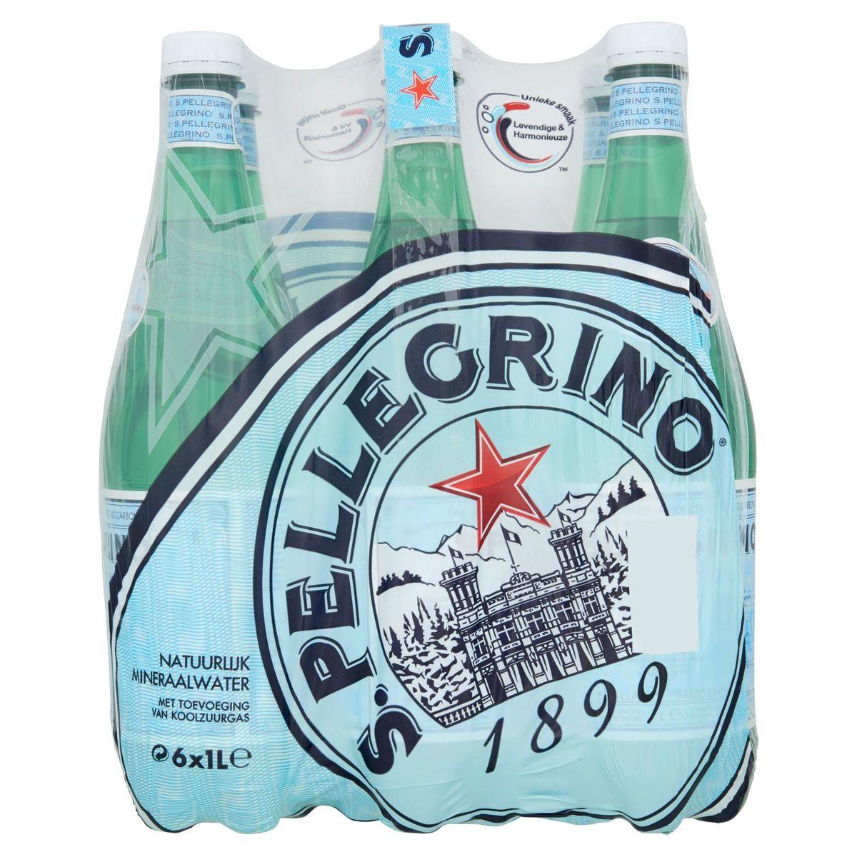 S.PELLEGRINO® Licht Bruisend Natuurlijk Mineraalwater 6 x 1 L
