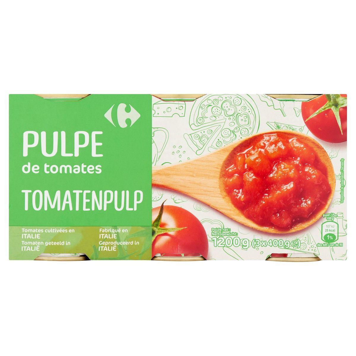 Carrefour Pulpe de Tomates 3 x 400 g