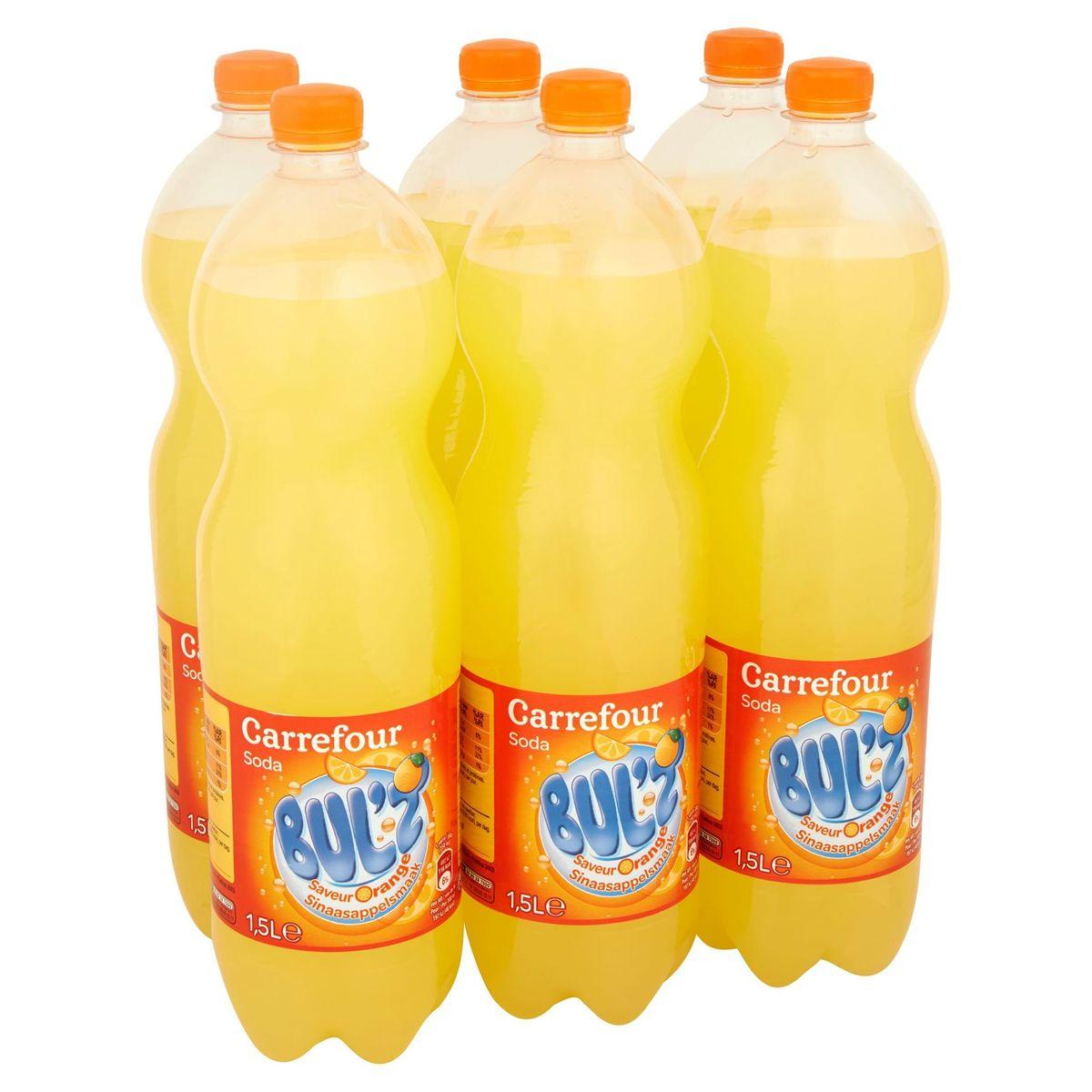 Carrefour Bul'z Soda Sinaasappelsmaak 6 x 1.5 L