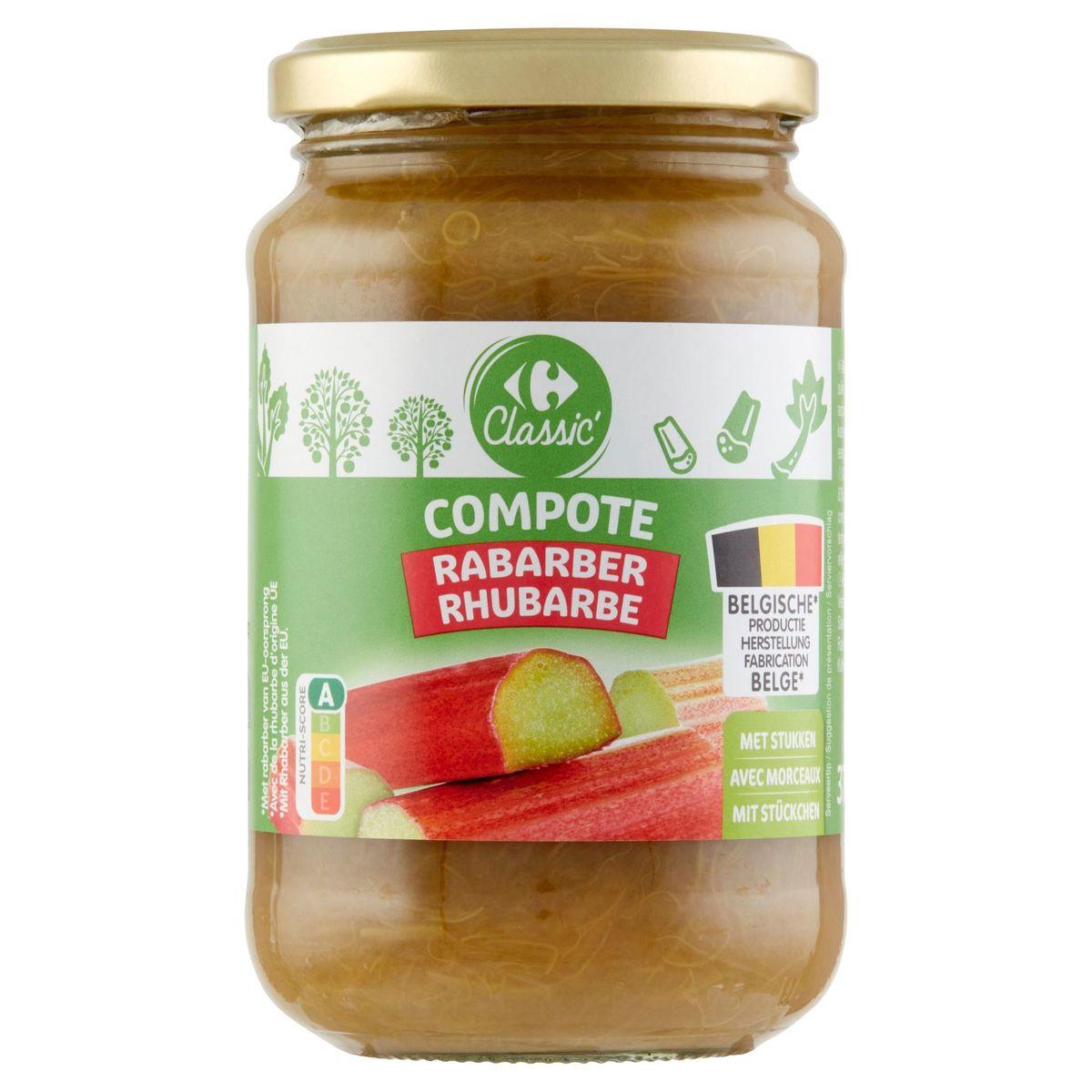 Carrefour Classic' Compote Rhubarbe avec Morceaux 375 g