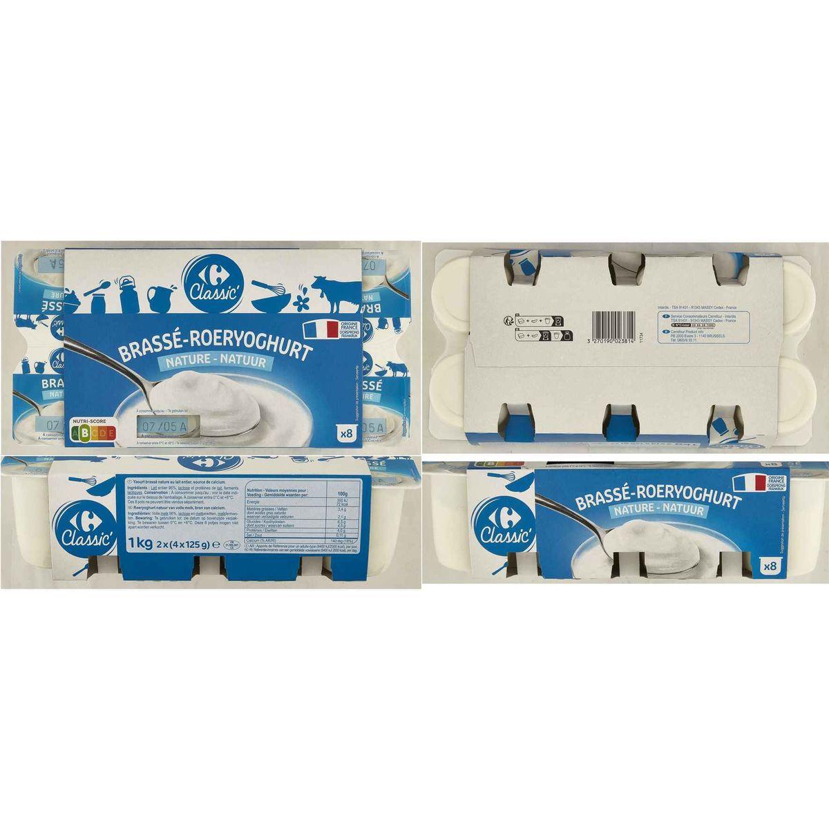 Carrefour Yaourt Nature Brassé 8 x 125 g