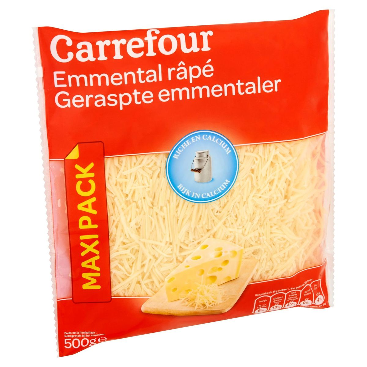 Carrefour Emmental Râpé Maxi Pack 500 g