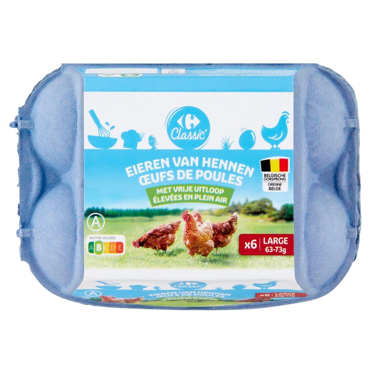 Carrefour Eieren van Hennen met Vrije Uitloop Large 6 Stuks