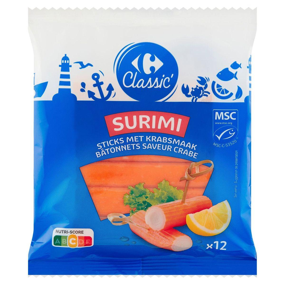 Carrefour Surimi Bâtonnets Aromatisés Saveur Crabe 12 Pièces 200 g