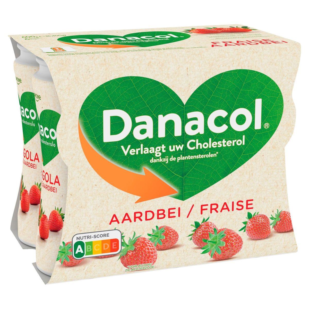 Danacol Yaourt à Boire Fraise 0% Diminue Cholestérol 6 x 100 g