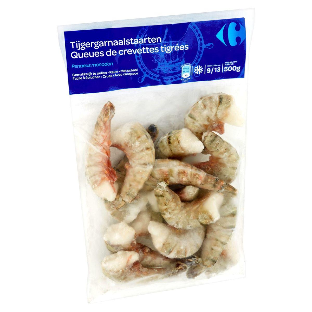 Carrefour Queues de Crevettes Tigrées 9/13 Pièces 500 g