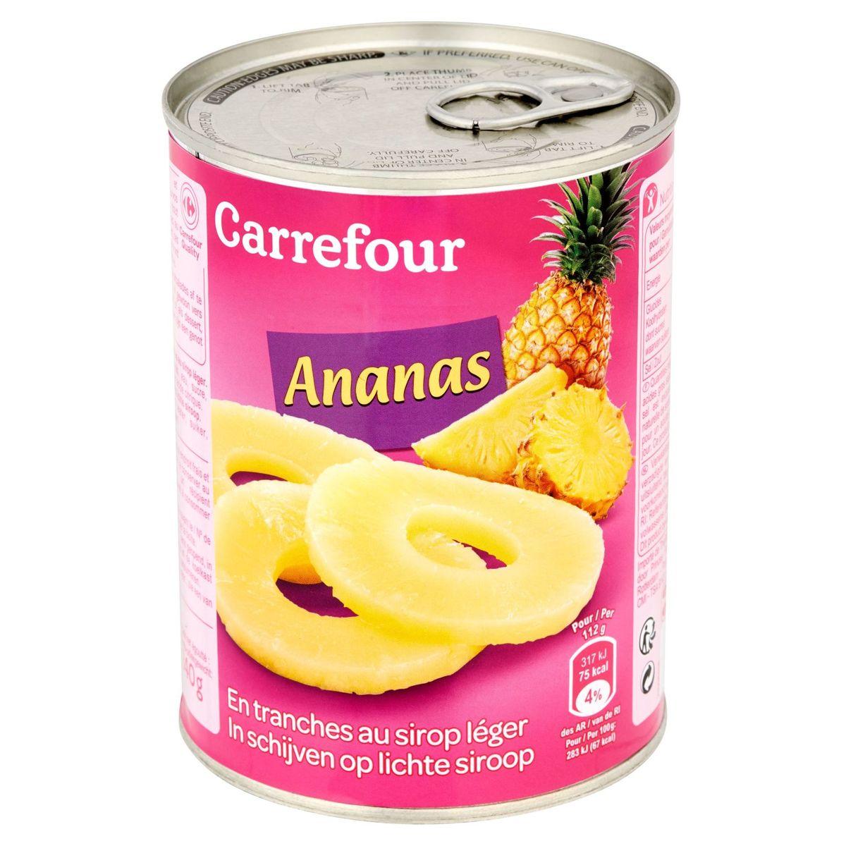 Carrefour Ananas en Tranches au Sirop Léger 560 g