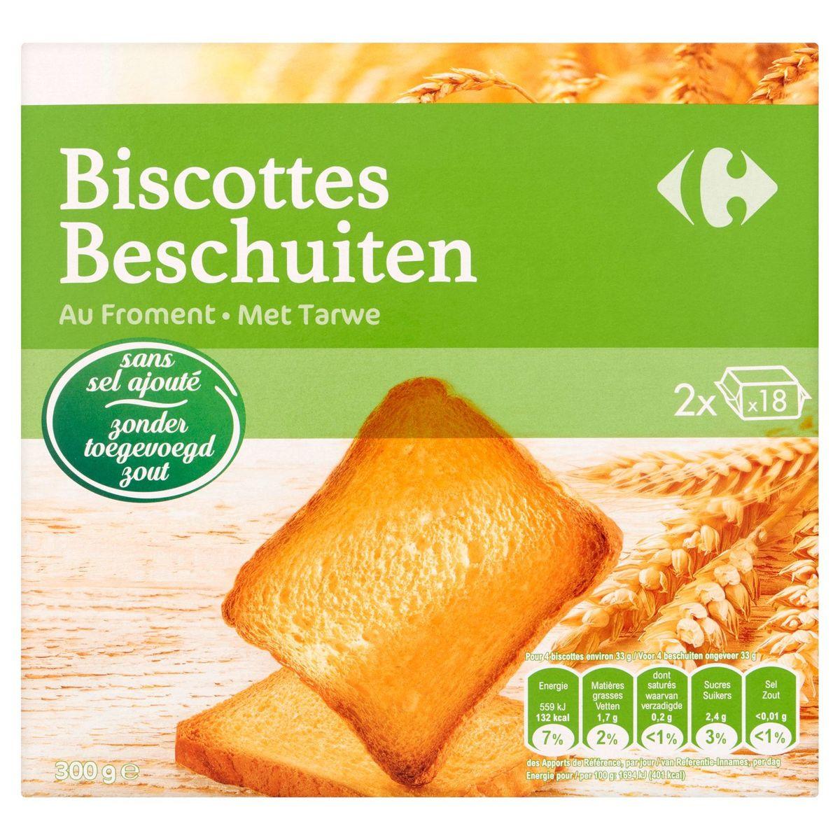 Carrefour Biscottes au Froment 2 x 18 Pièces 300 g