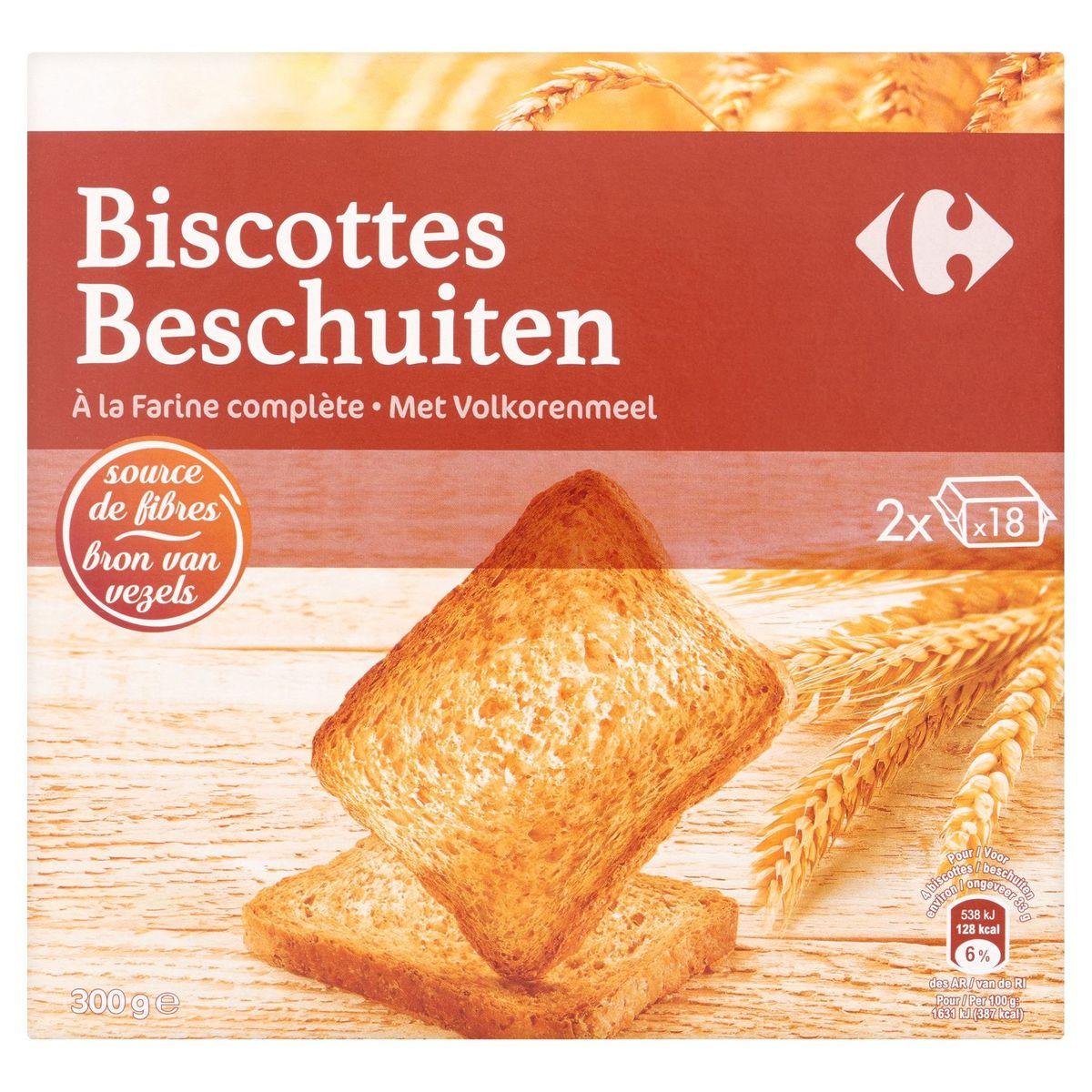 Carrefour Biscottes à la Farine Complète 2 x 18 Pièces 300 g
