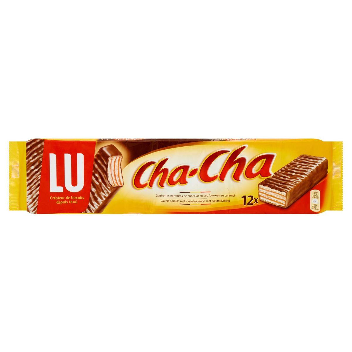LU Cha-Cha Gaufrettes Enrobées de Chocolat au Lait Fourrées au Caramel 12 x 27 g