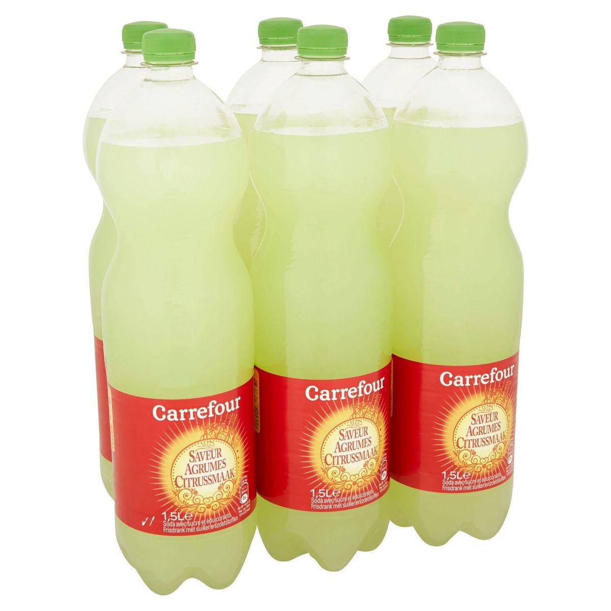 Carrefour Saveur Agrumes Soda avec Sucre et Édulcorants 6 x 1.5 L