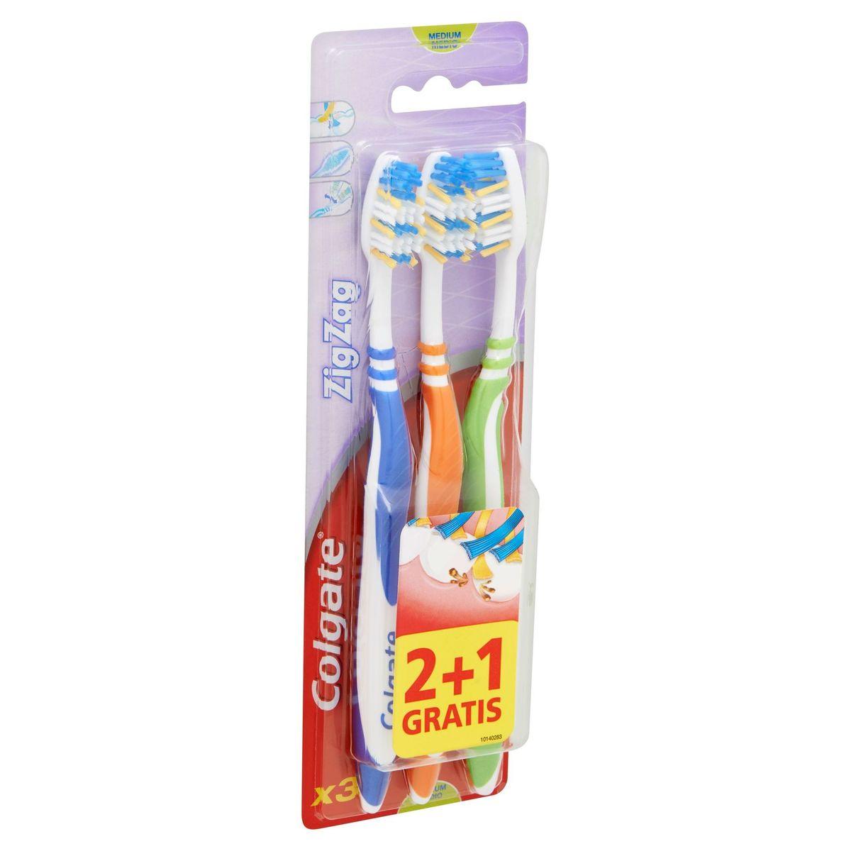 Colgate ZigZag Medium Brosse à Dents 2 + 1 Gratis