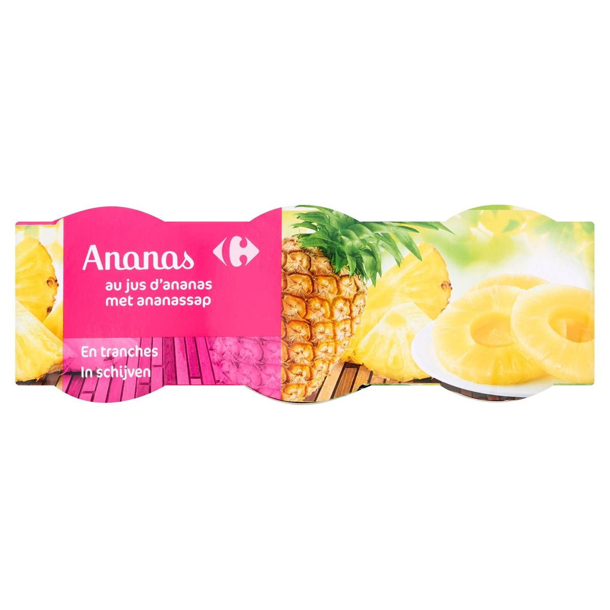 Carrefour Ananas en Tranches au Jus d'Ananas 3 x 220 g