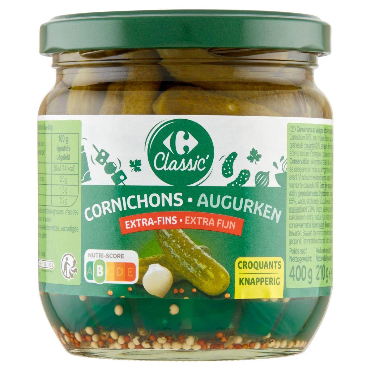Carrefour Augurken Heerlijk Knapperig Extra Fijn 400 g
