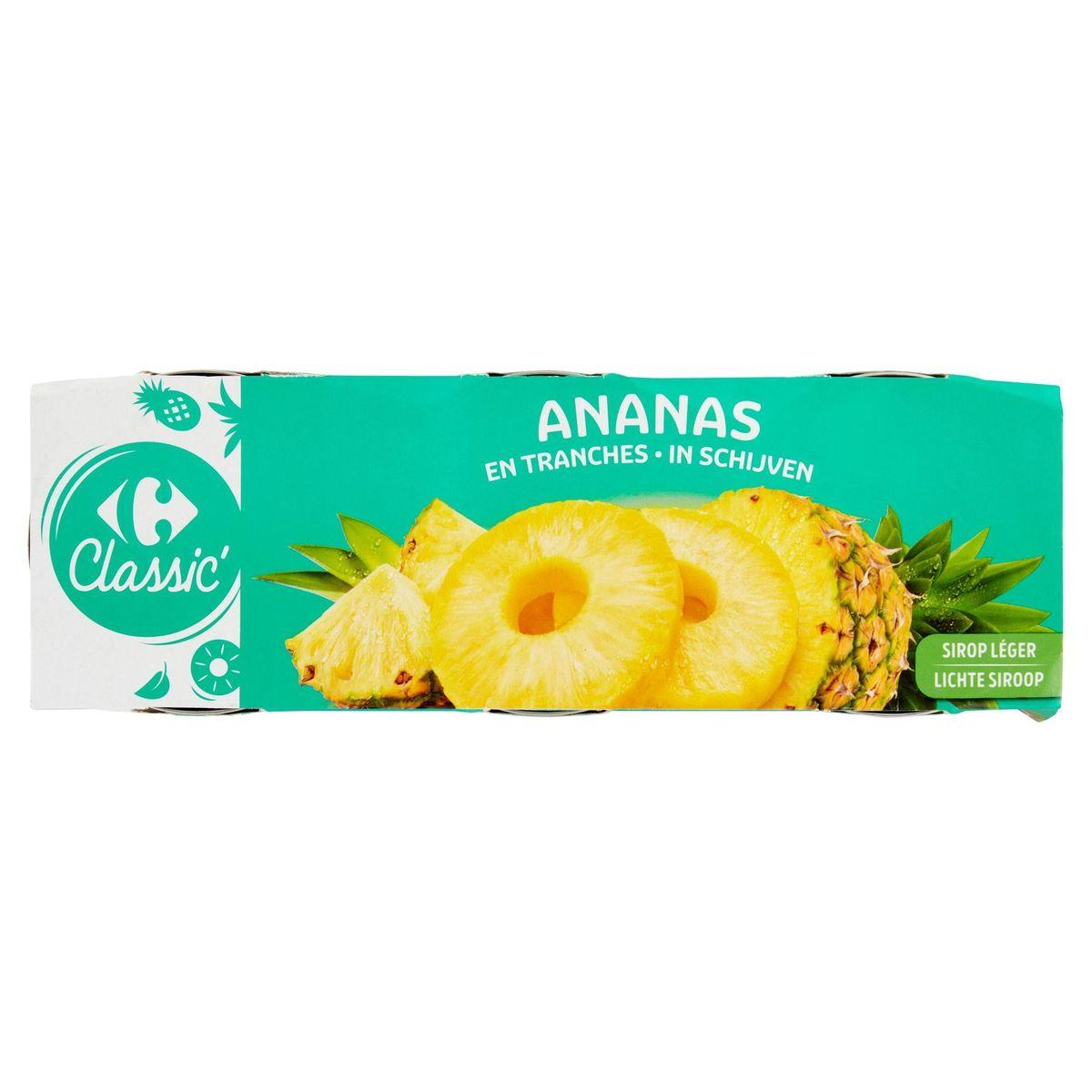 Carrefour Ananas en Tranches au Sirop Léger 3 x 225 g
