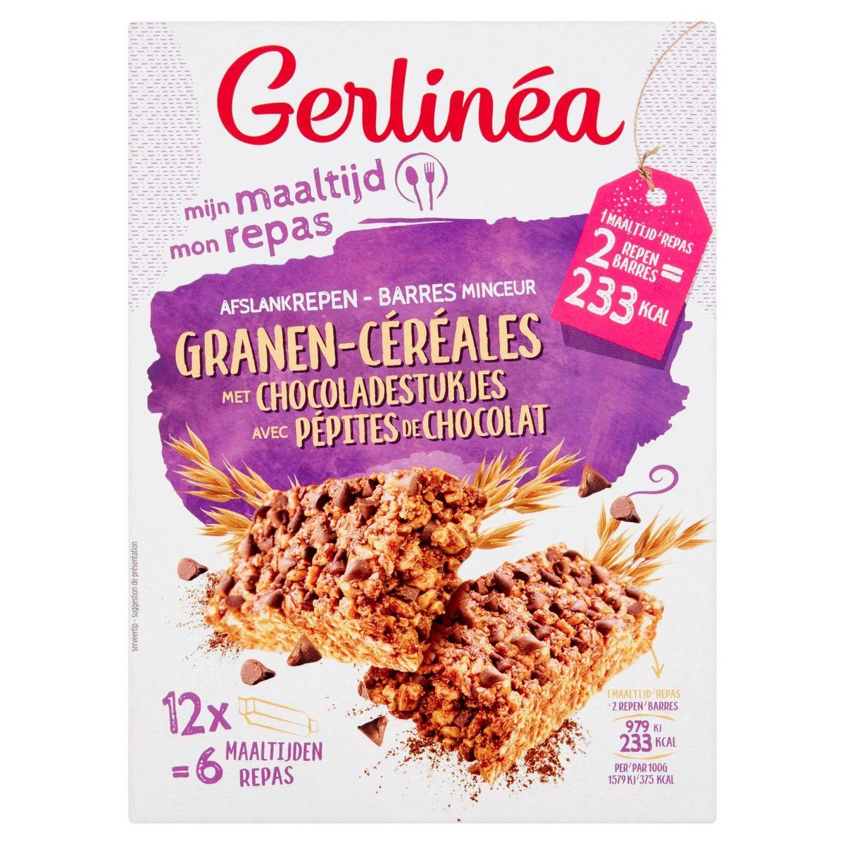 Gerlinéa Mijn Maaltijd Afslankrepen Granen met Chocoladestukjes 12 x 31 g