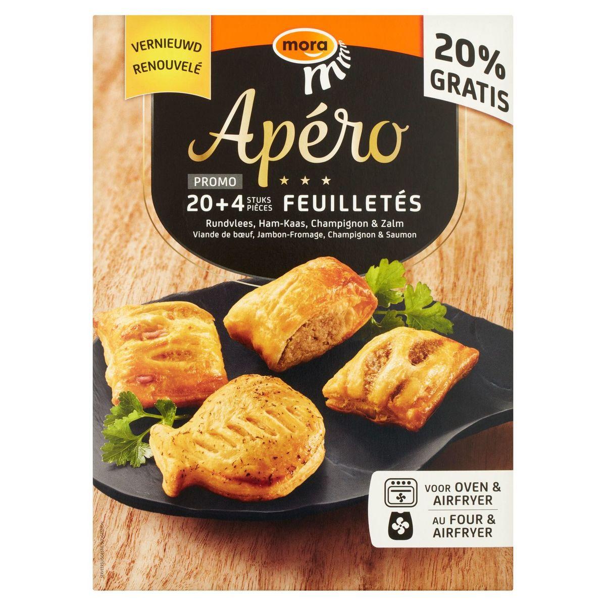 Mora Apéro Feuilletés Viande de Bœuf, Jambon-Fromage, Champignon & Saumon 6 x 4 Pièces 528 g
