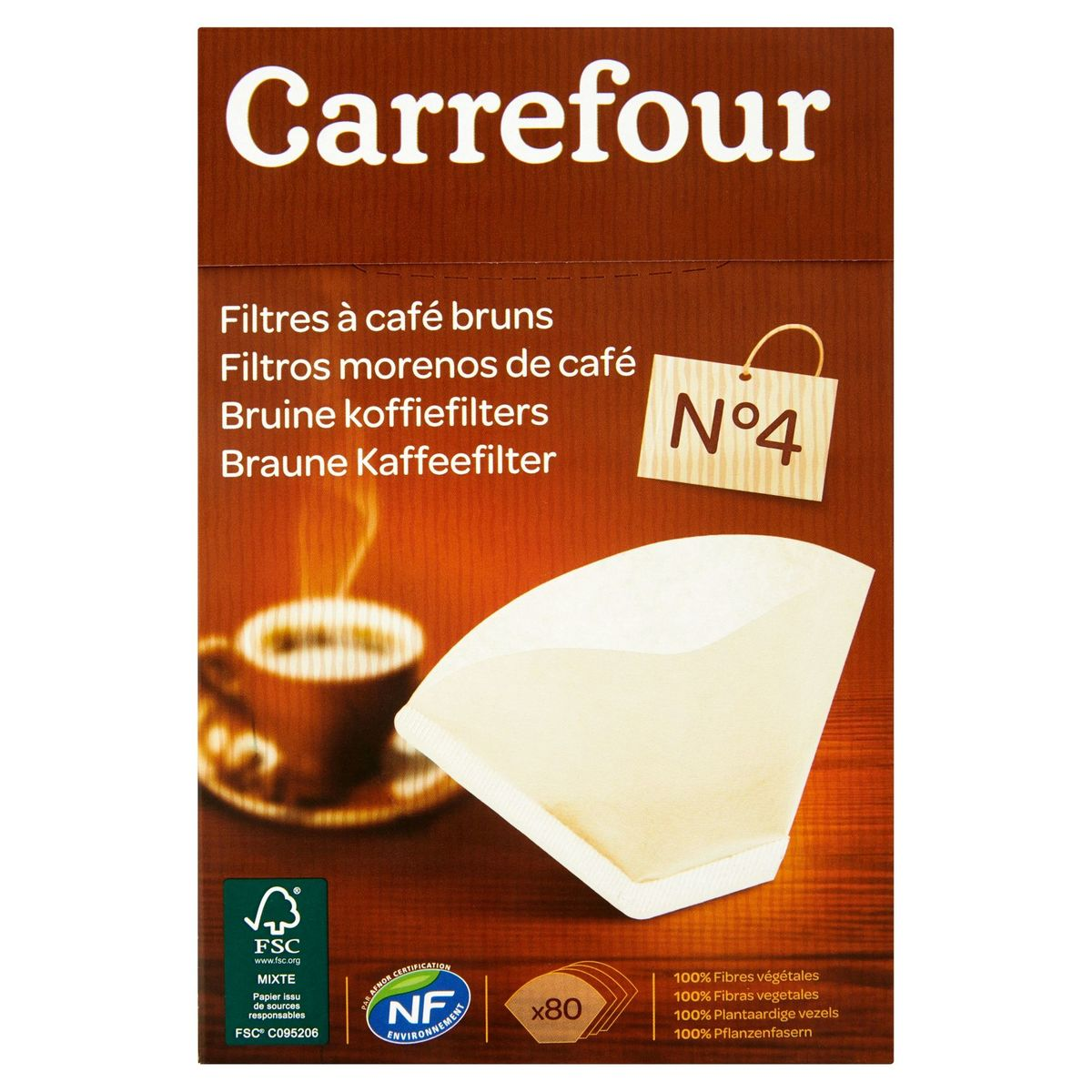 Carrefour Filtres à Café Bruns N°4 80 Pièces