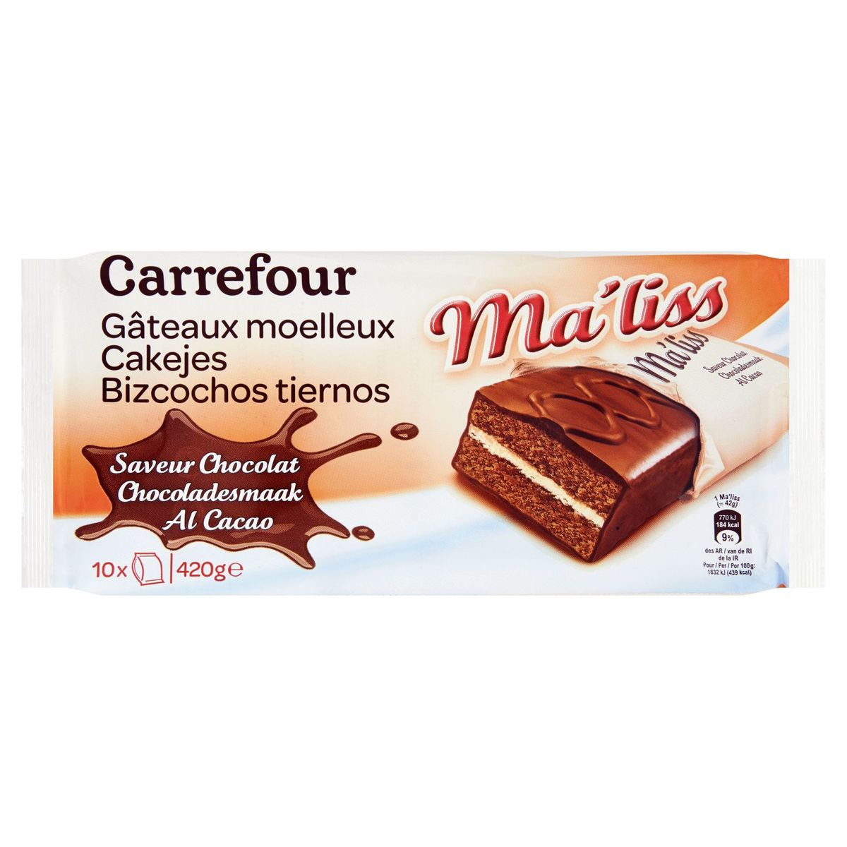 Carrefour Ma'liss Cakejes Chocoladesmaak 10 x 42 g