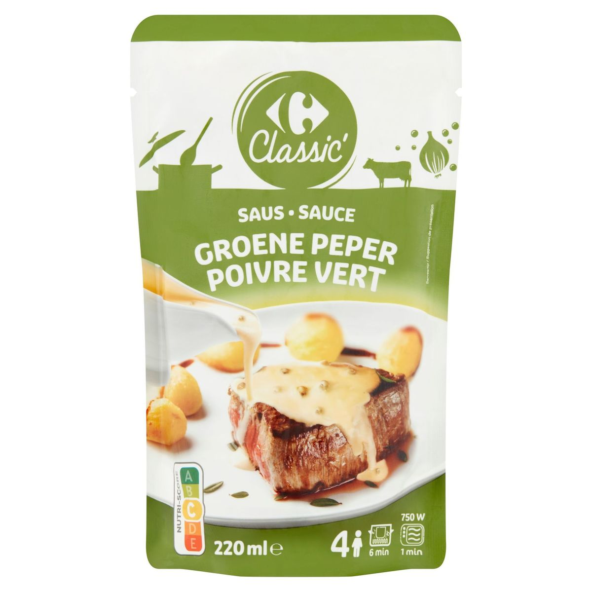 Carrefour Classic' Saus Groene Peper 220 ml