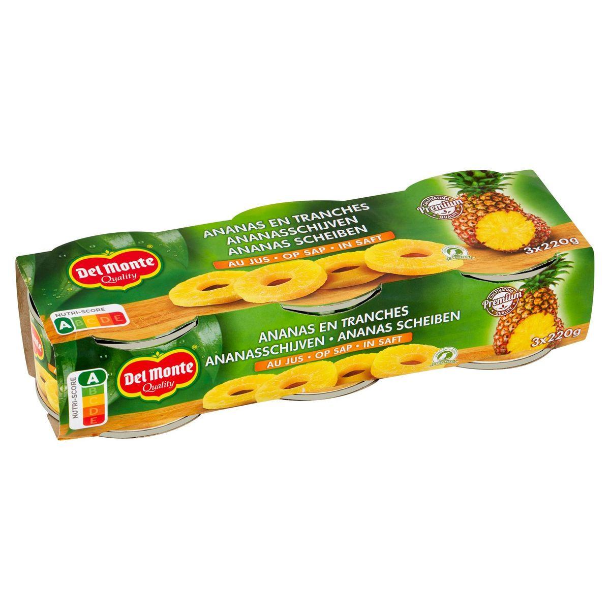 Del Monte Ananas en Tranches au Jus 3 x 220 g