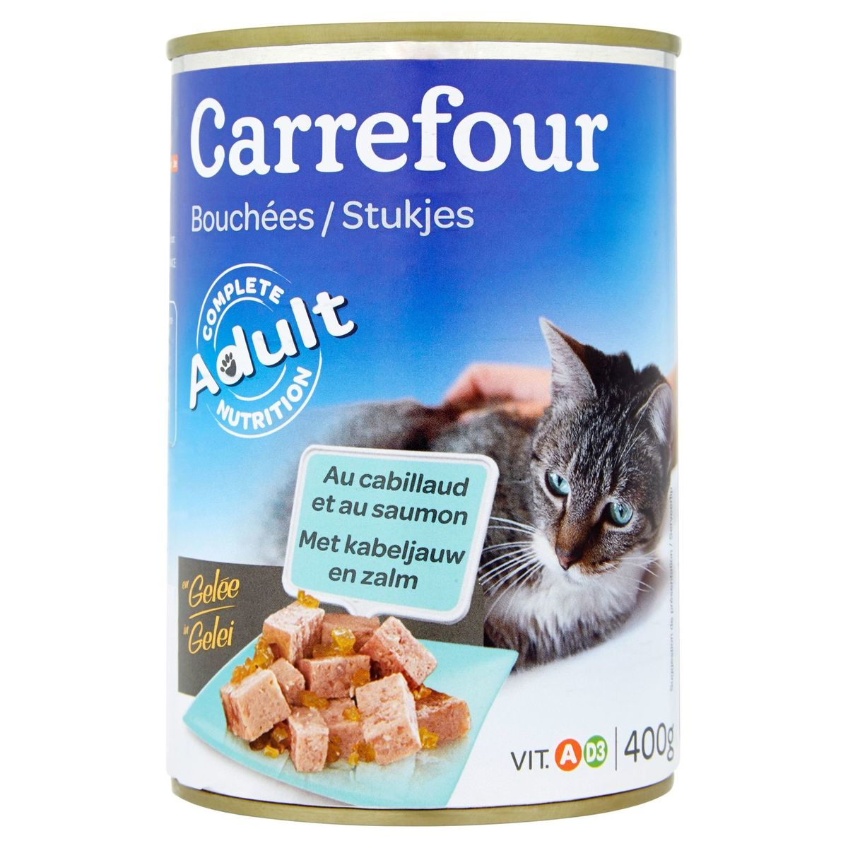 Carrefour Stukjes in Gelei met Kabeljauw en Zalm 400 g