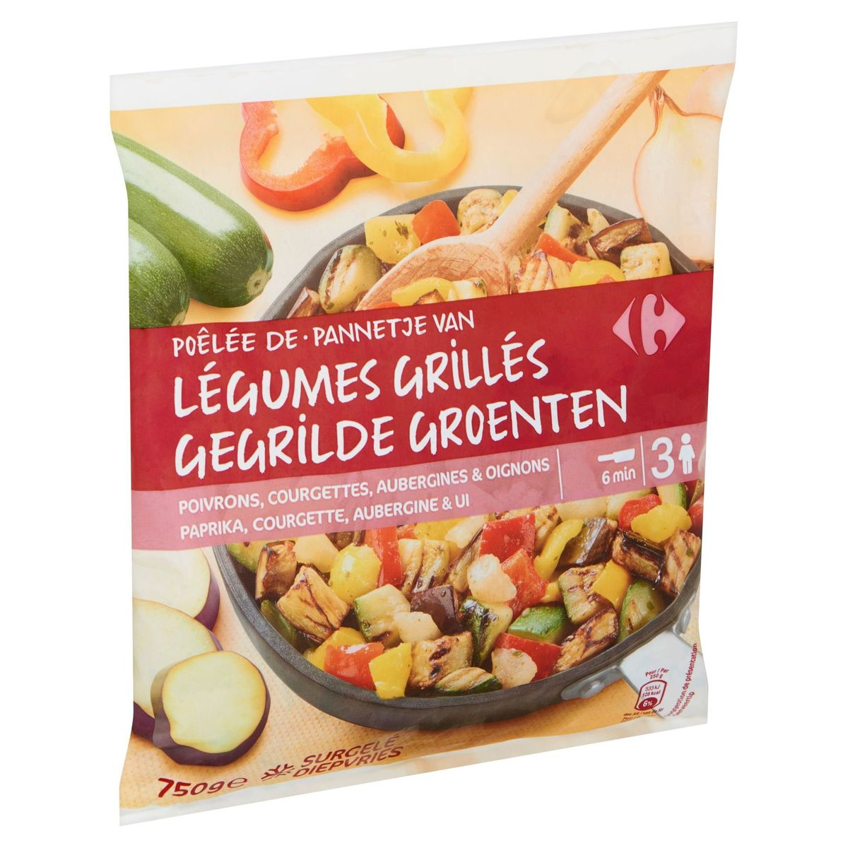 Carrefour Pannetje van Gegrilde Groenten Paprika, Courgette, Aubergine & Ui 750 g