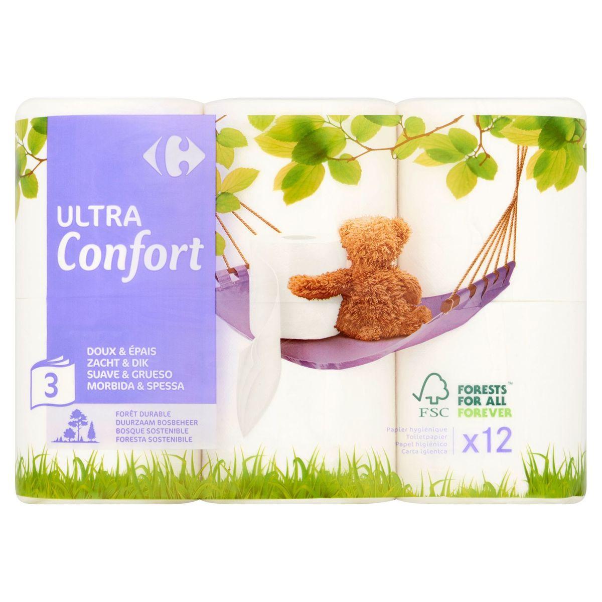 Carrefour Ultra Confort 3-Épaisseurs 12 Rouleaux