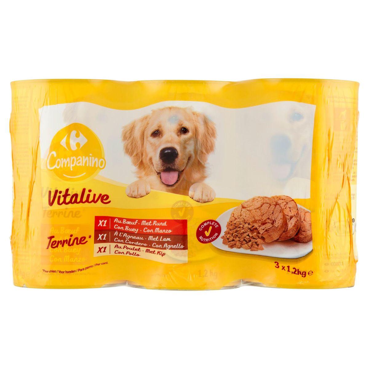 Carrefour Paté Assortiment voor Honden 3 x 1230 g