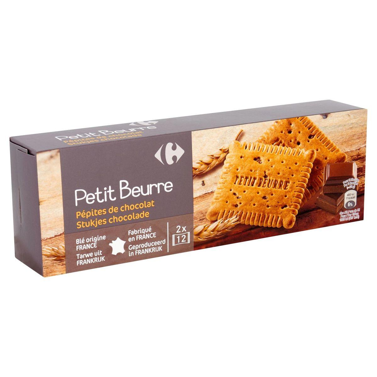 Carrefour Petit Beurre Pépites de Chocolat  2 x 12 Pièces 200 g