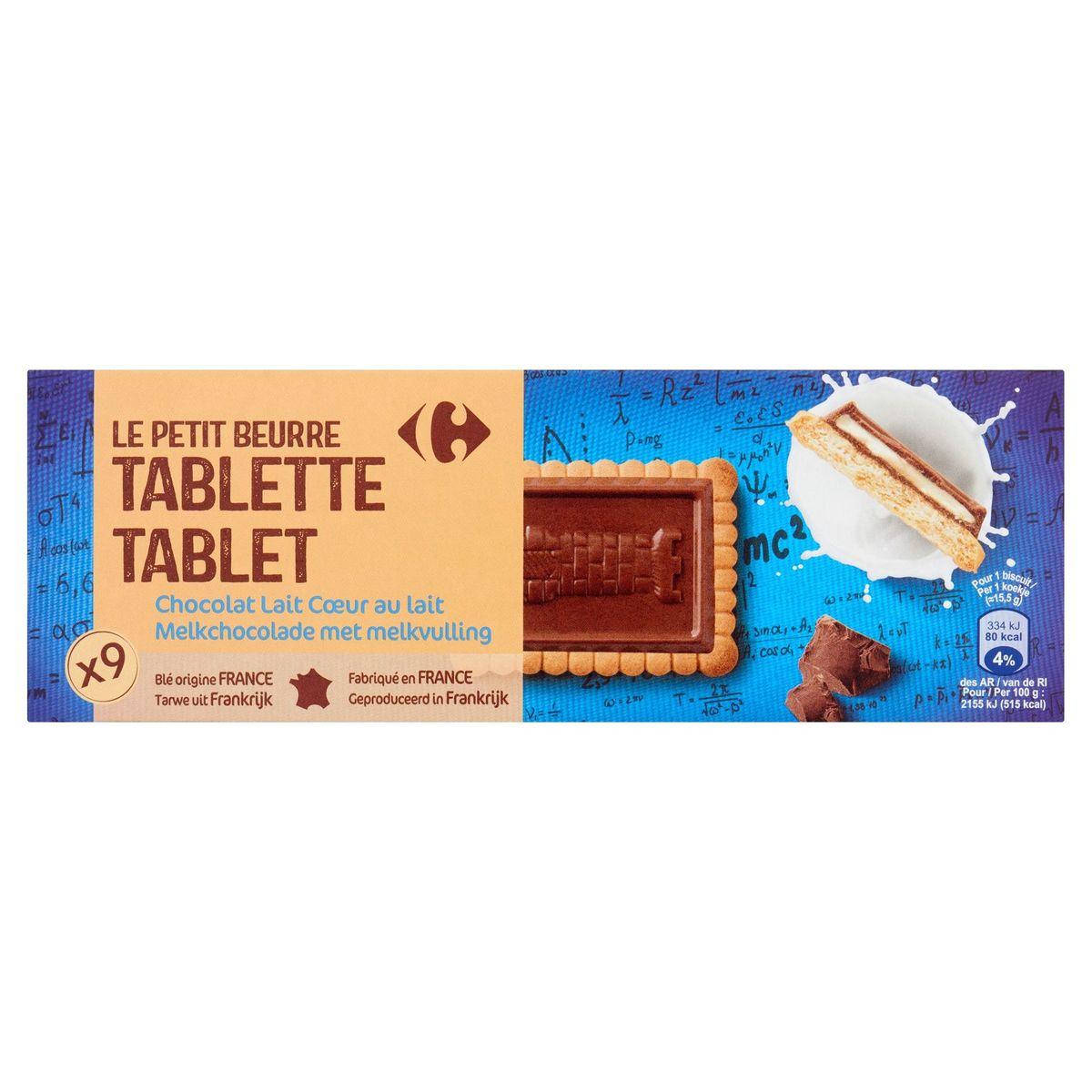 Carrefour Le Petit Beurre Tablette Chocolat Lait 9 Pièces 140 g