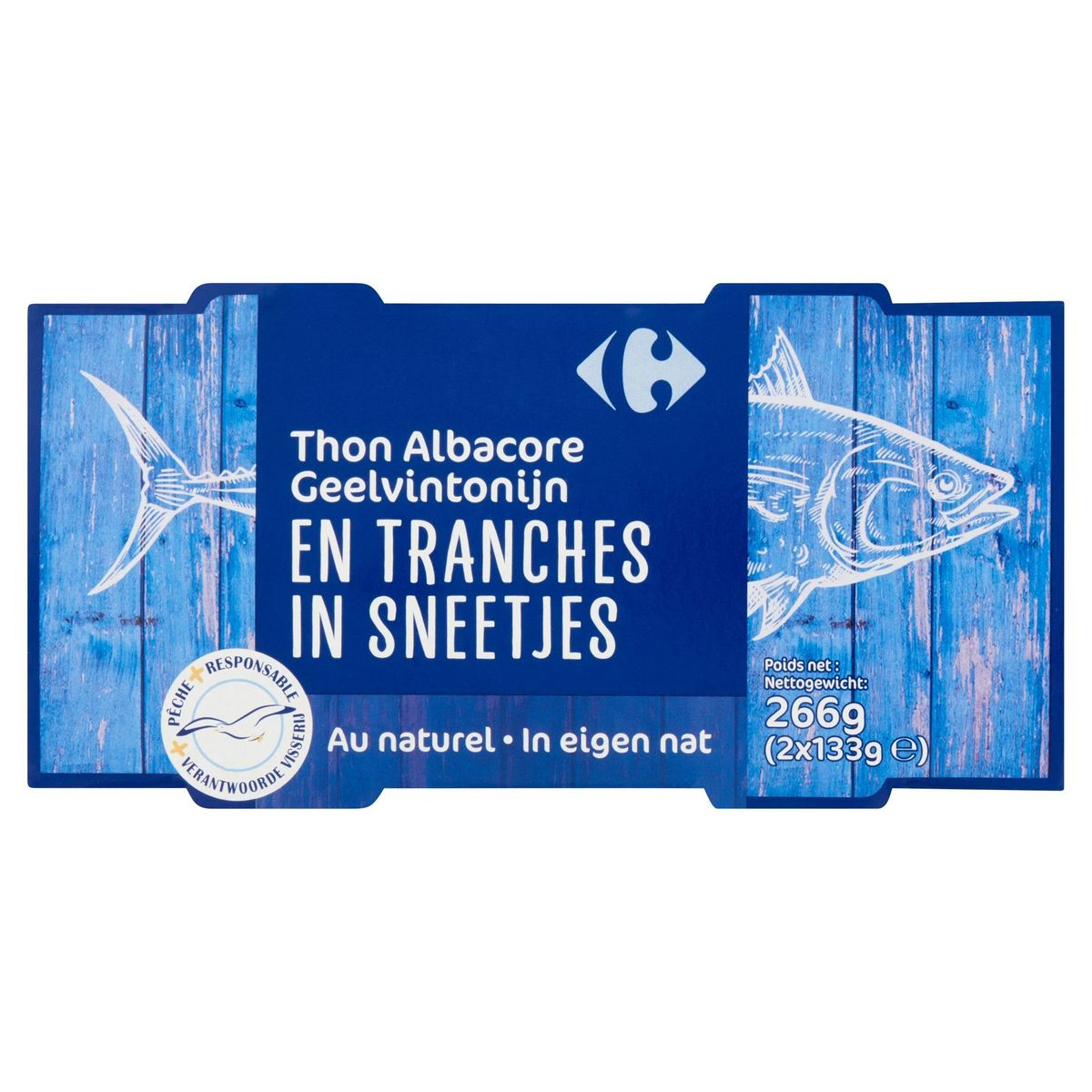 Carrefour Thon Albacore en Tranches au Naturel 2 x 133 g