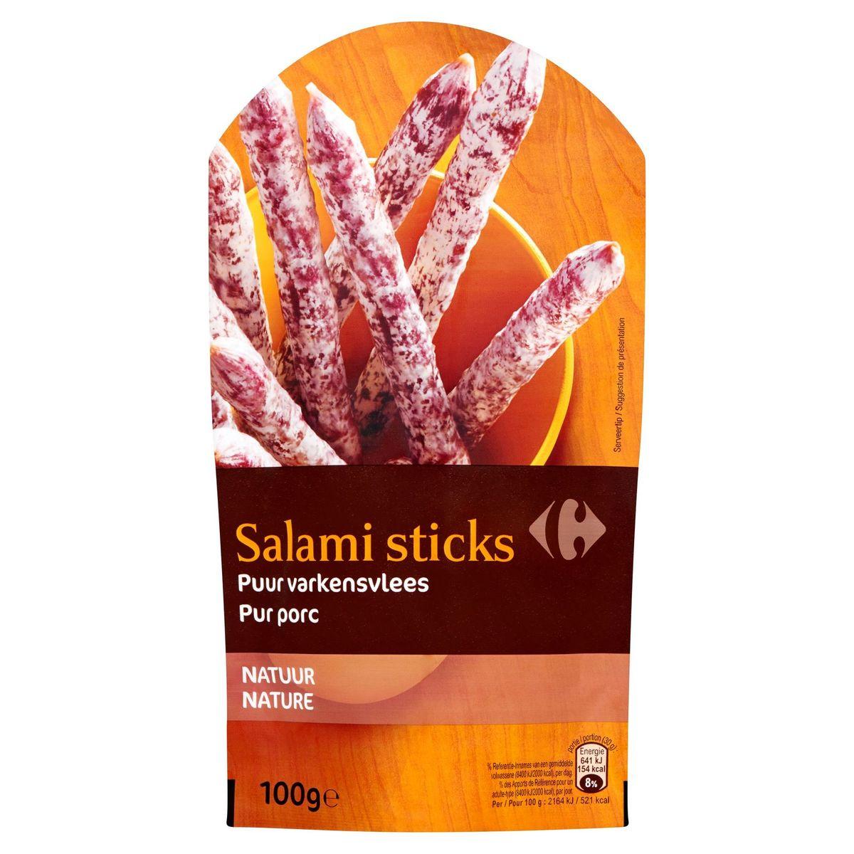 Carrefour Salami Sticks Puur Varkensvlees Natuur 100 g