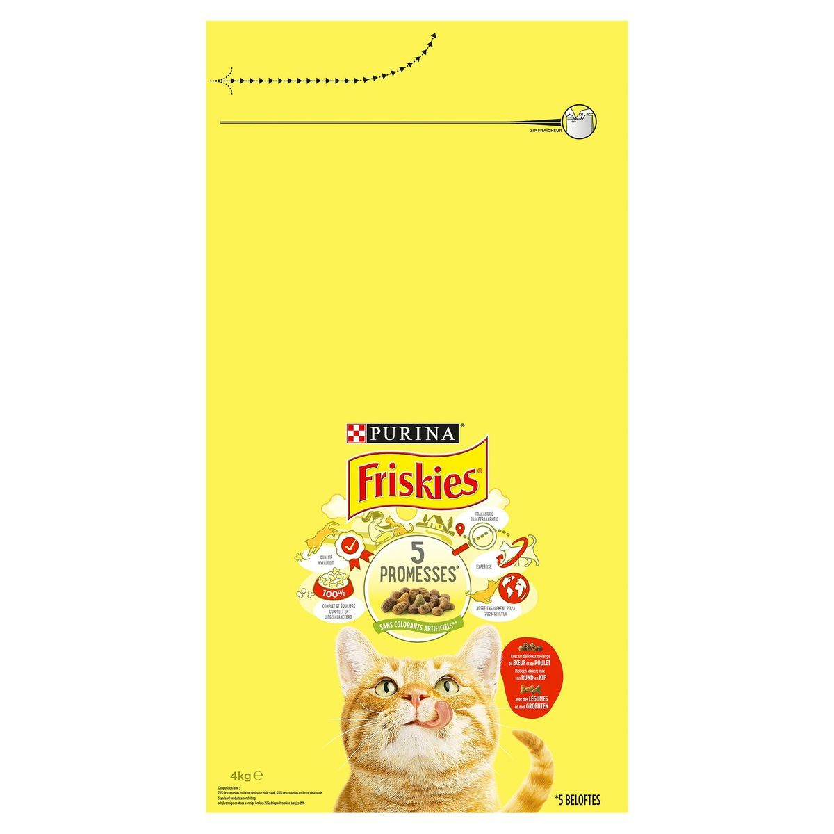 FRISKIES Kattenvoer Adult Rund, Kip en Groenten 4 kg