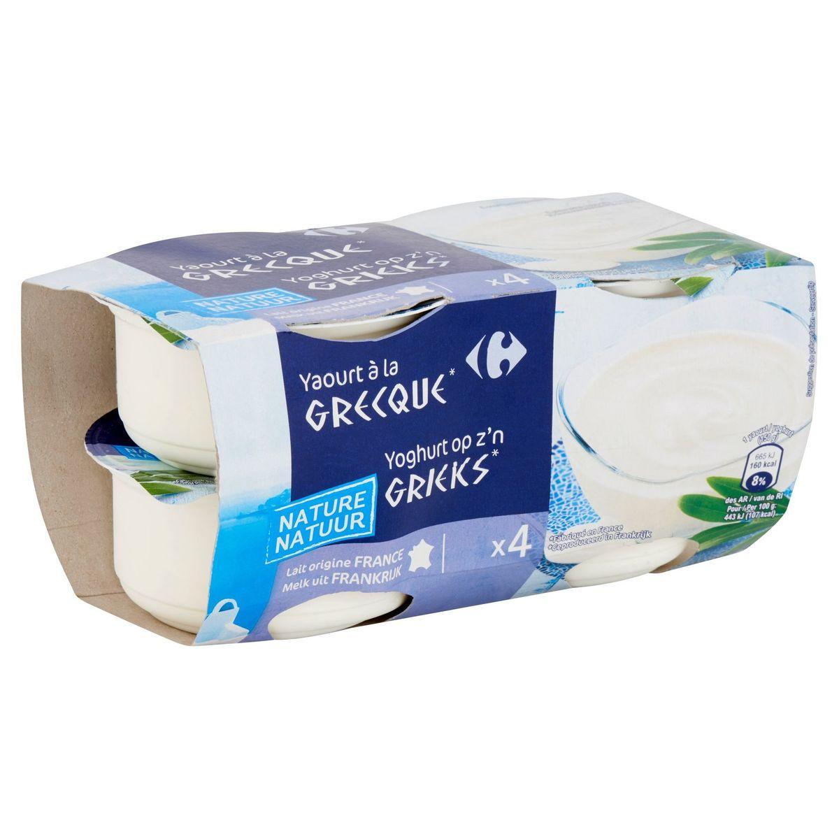 Carrefour Yaourt à la Grecque Nature 4 x 150 g