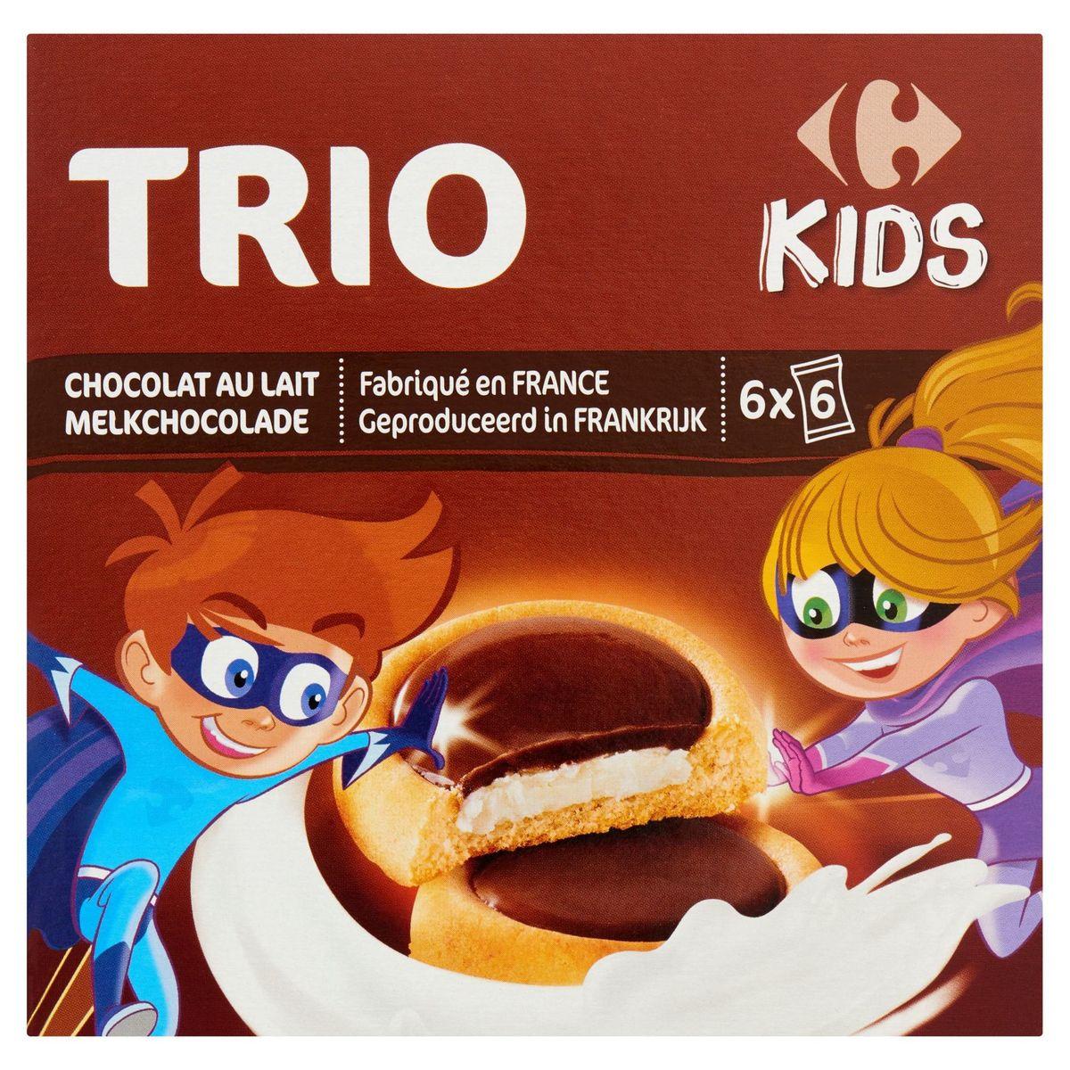 Carrefour Kids Trio Chocolat au Lait les Super Kids 6 x 6 Pièces 225 g