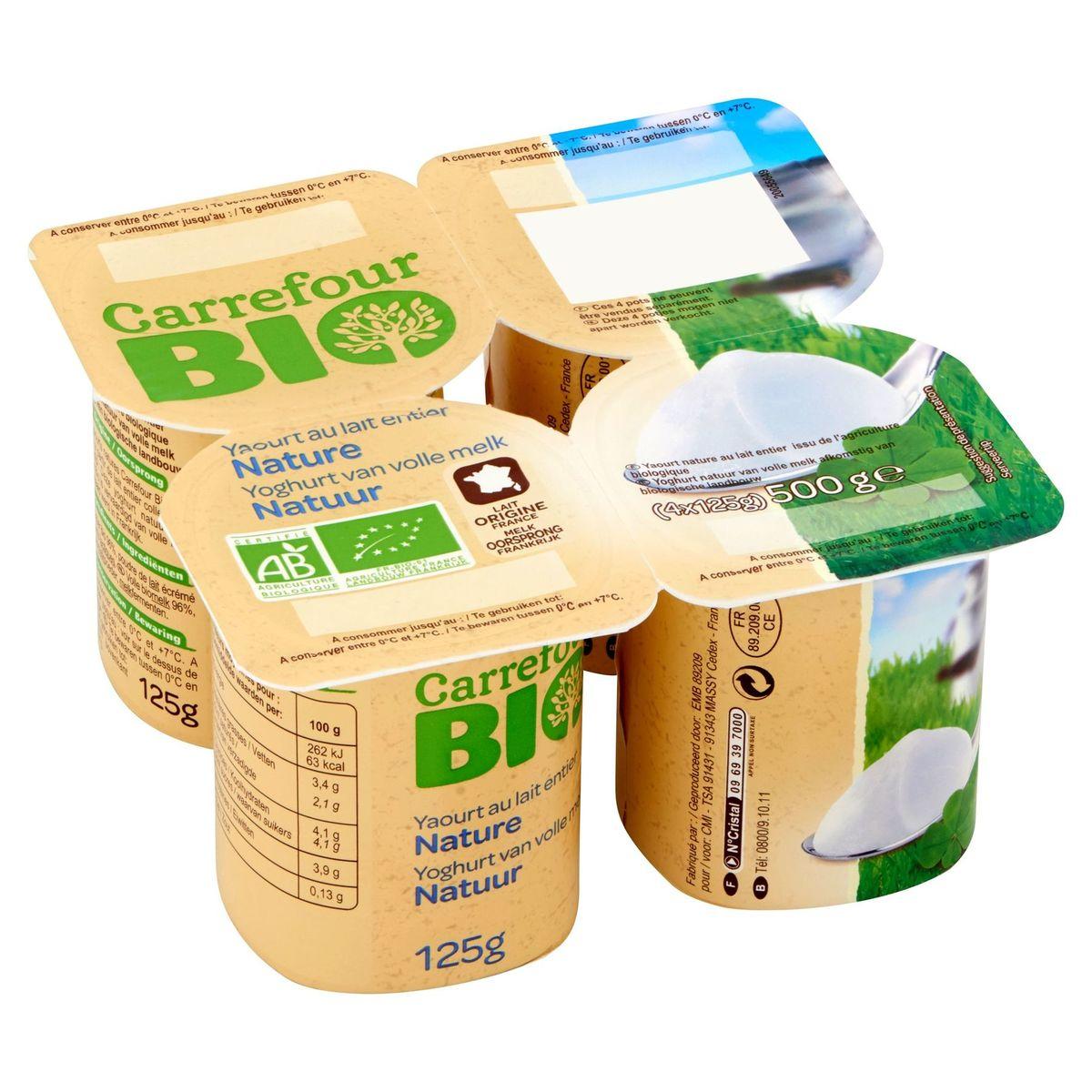 Carrefour Bio Yaourt au Lait Entier Nature 4 x 125 g