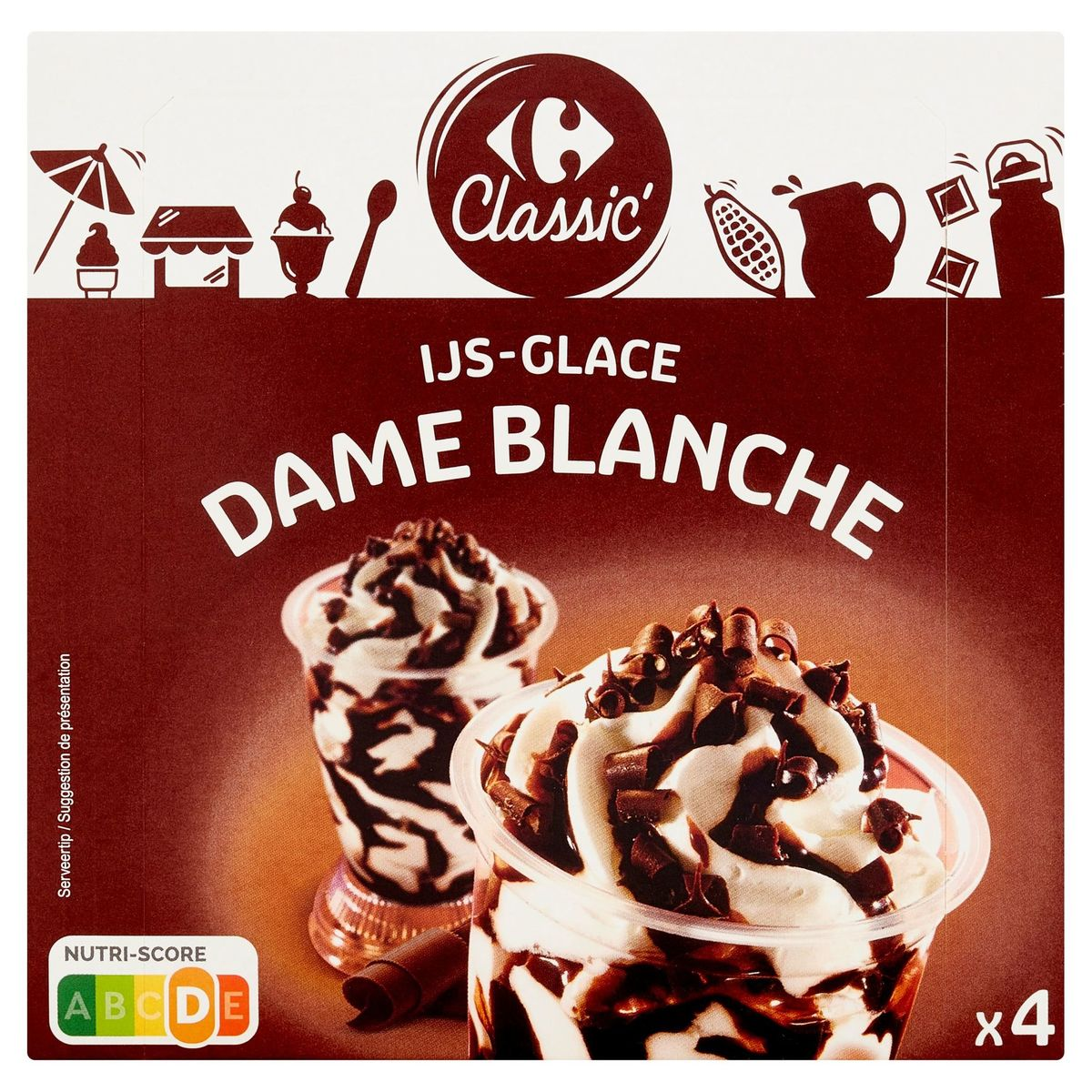 Carrefour Classic' Ijs Dame Blanche 4 Stuks 336 g