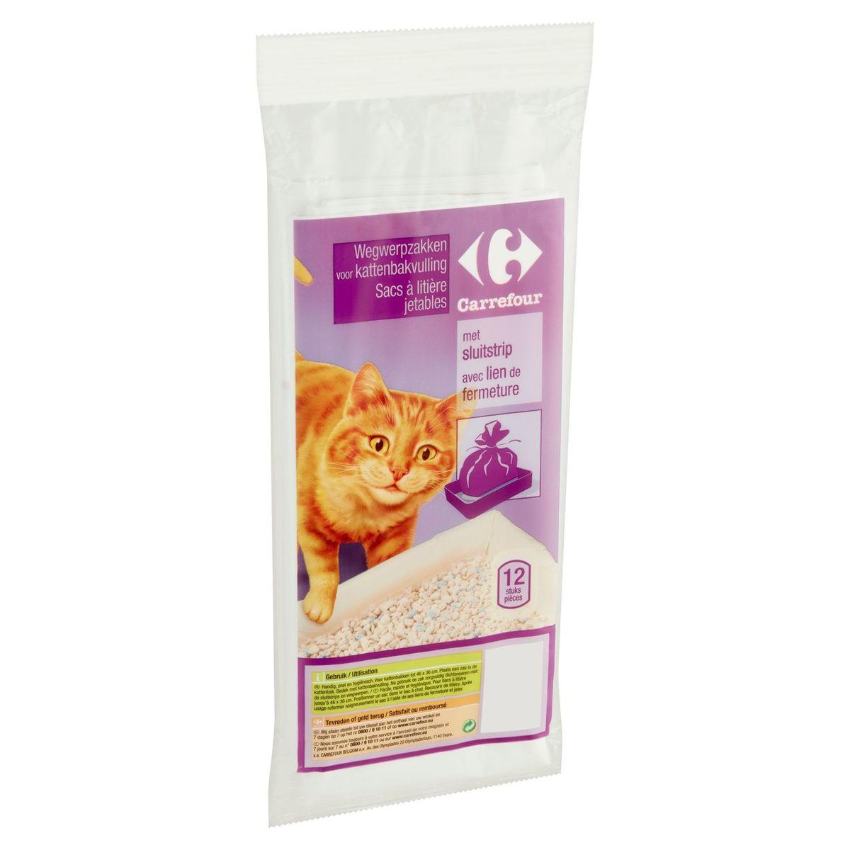 Carrefour Wegwerpzakken voor Kattenbakvulling met Sluitstrip 12 Stuks