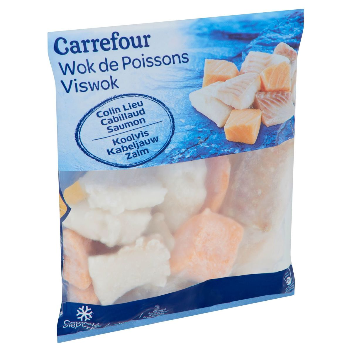 Carrefour Viswok Koolvis Kabeljauw Zalm 600 g