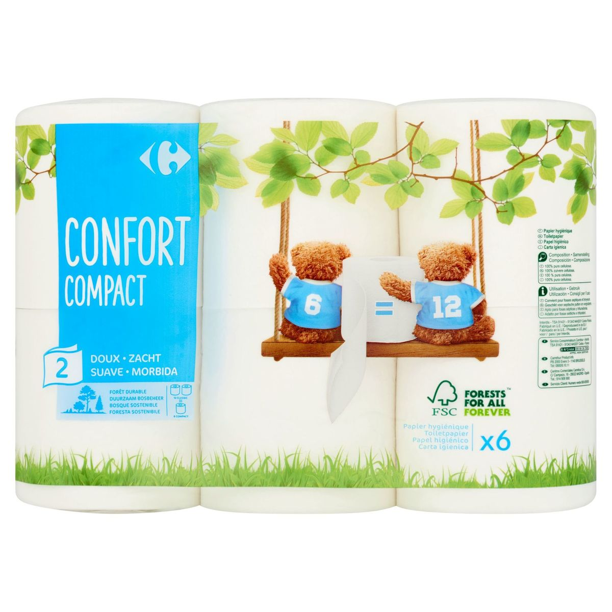 Carrefour Confort Compact 2-Laags 6 Rollen