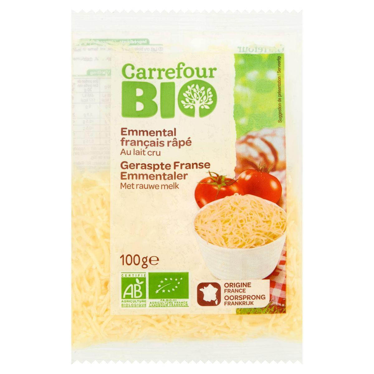 Carrefour Bio Emmental Français Râpé au Lait Cru 100 g