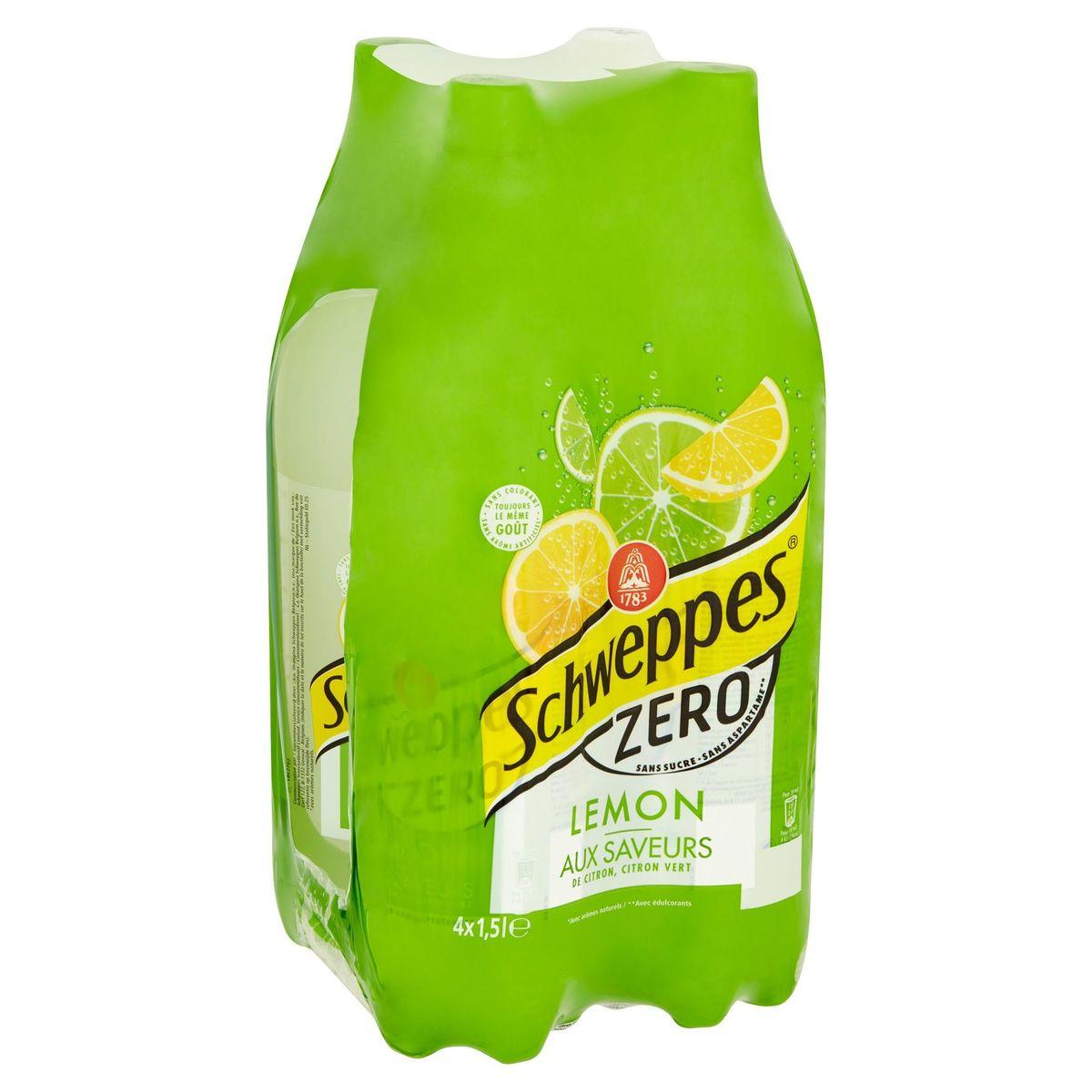 Schweppes Zero Lemon aux Saveurs de Citron, Citron Vert 4 x 1.5 L