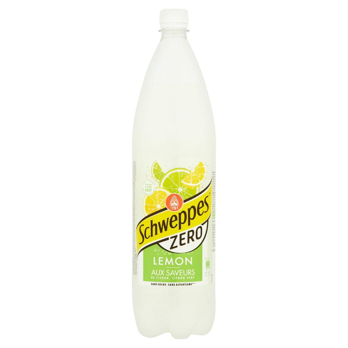 Schweppes Zero Lemon aux Saveurs de Citron, Citron Vert 1.5 L