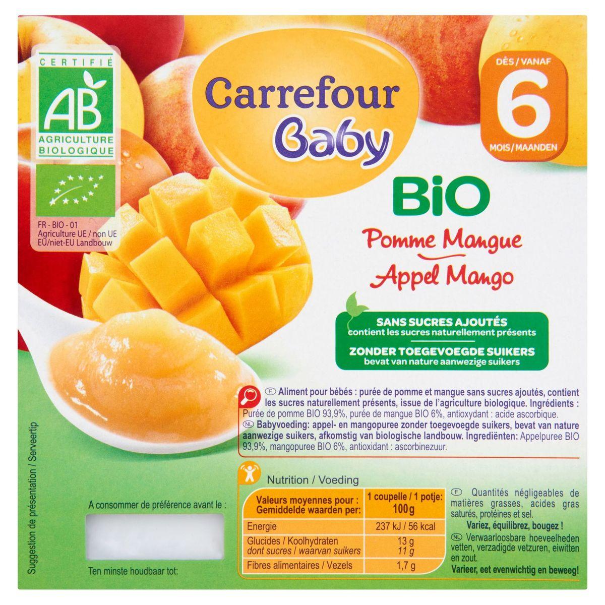 Carrefour Baby Bio Pomme Mangue dès 6 Mois 4 x 100 g