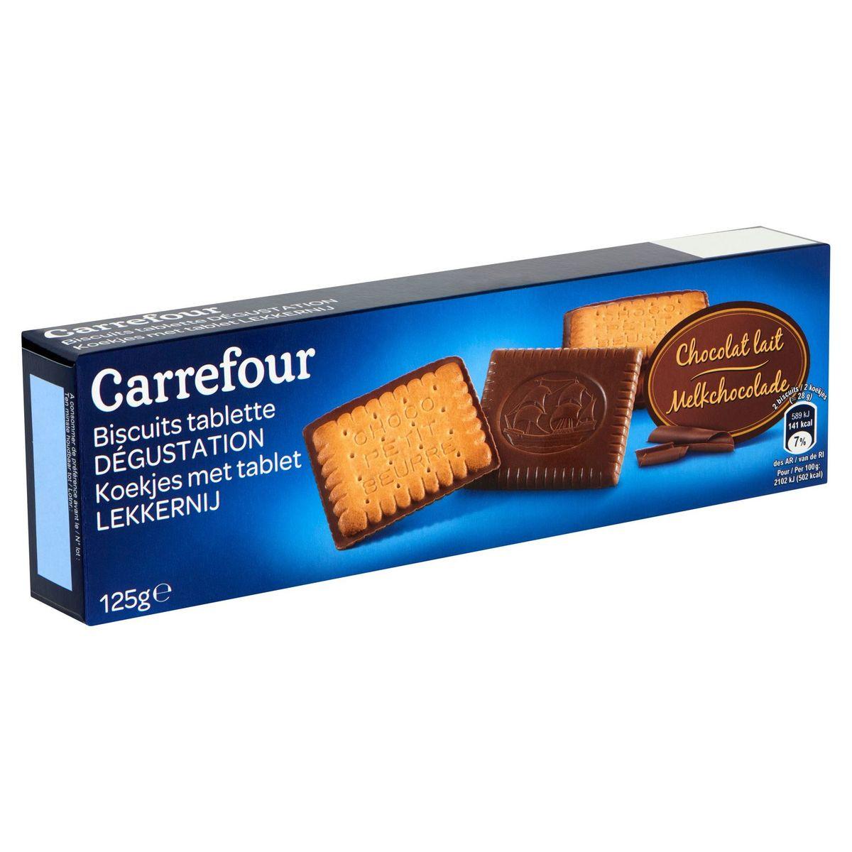 Carrefour Biscuits Tablette Dégustation Chocolat Lait 125 g