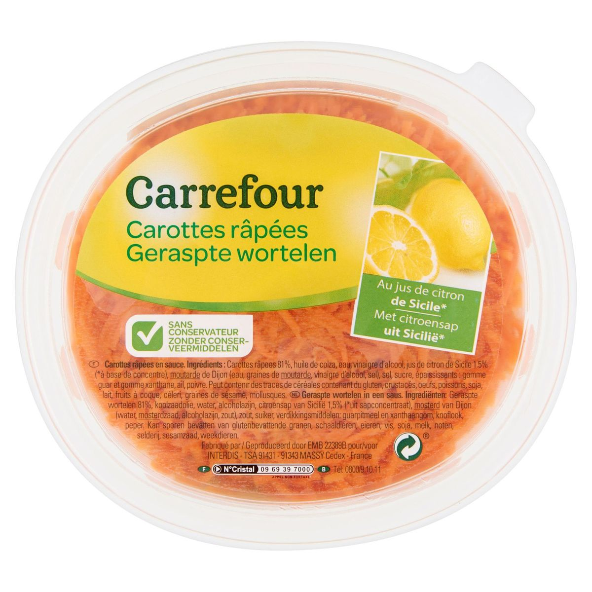 Carrefour Carottes Râpées au Jus de Citron de Sicile 300 g