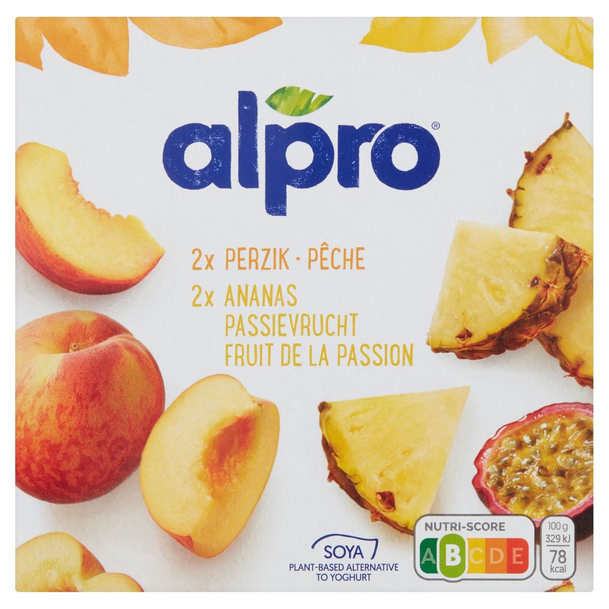 Alpro Perzik Ananas-Passievrucht Plantaardig voor Yoghurt  4 x 125 g